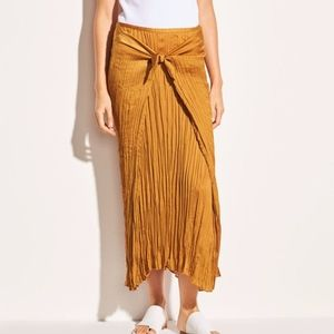 Vince Pleated Tie Front Midi Skirt